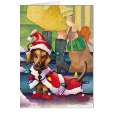 Dachshund Lights - Funny Christmas Card at Zazzle