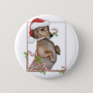 Dachshund Lilly's Candy Canes Button