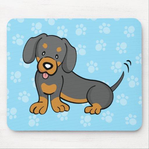 Dachshund lindo Mousepad del perro del dibujo anim