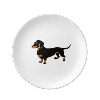 Dachshund lindo - perro de Doxie Plato De Cerámica