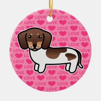 Dachshund liso picazo del chocolate y de la capa adorno navideño redondo de cerámica