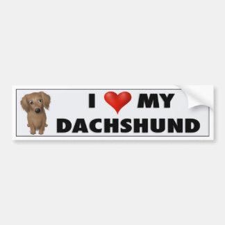 Dachshund (Long-Hair) Love Sticker Bumper Sticker