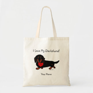 Dachshund Long Haired Black and Tan Budget Tote Bag