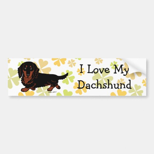 Dachshund Long Haired Black and Tan Bumper Stickers