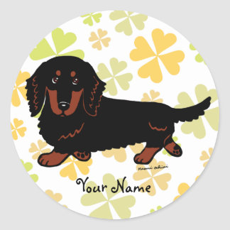 Dachshund Long Haired Black and Tan Classic Round Sticker