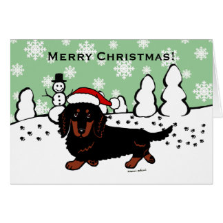 Dachshund Long Haired Black and Tan Greeting Cards