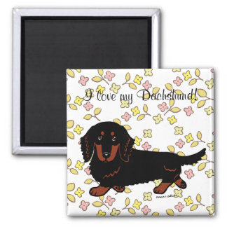 Dachshund Long Haired Black and Tan Refrigerator Magnets