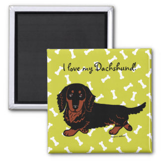 Dachshund Long Haired Black and Tan Magnet
