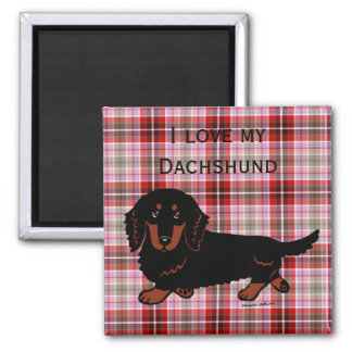 Dachshund Long Haired Black and Tan Magnets