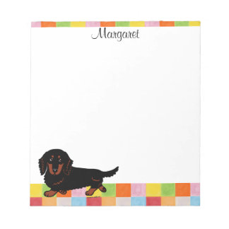 Dachshund Long Haired Black and Tan Memo Note Pads