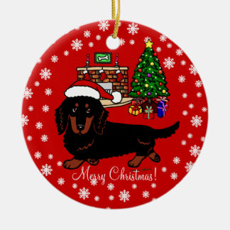 Dachshund Long Haired Black and Tan Ornament