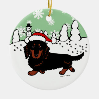 Dachshund Long Haired Black and Tan Christmas Ornaments
