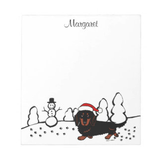 Dachshund Long Haired Black and Tan Scratch Pad