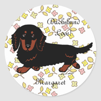 Dachshund Long Haired Black and Tan Stickers