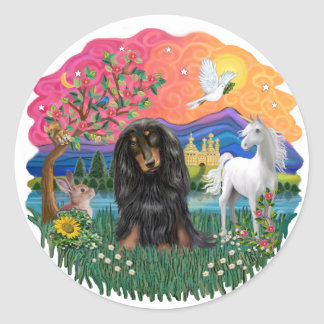 Dachshund (long haired black/tan) classic round sticker