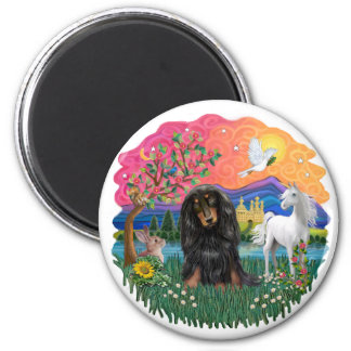 Dachshund (long haired black/tan) magnet
