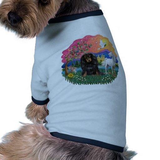Dachshund (long haired black/tan) pet tshirt