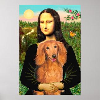 Dachshund (long haired sable) - Mona Lisa Poster