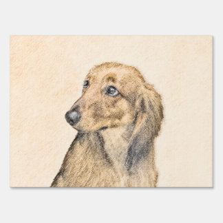 Dachshund (Longhaired) 2 Painting Original Dog Art Lawn Sign