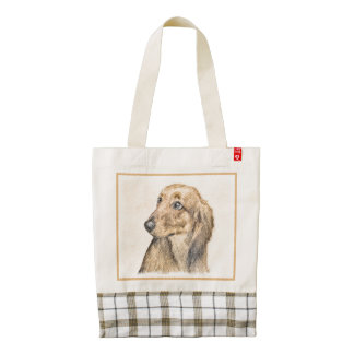 Dachshund (Longhaired) 2 Zazzle HEART Tote Bag