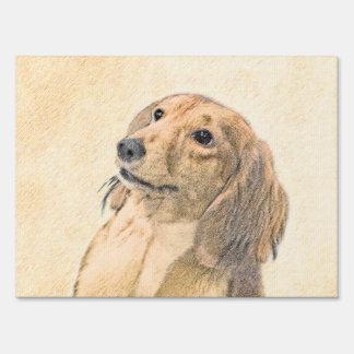 Dachshund (Longhaired) Painting - Original Dog Art Yard Sign