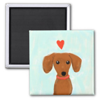 Dachshund Love 2 Inch Square Magnet