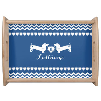 Dachshund Love and Hearts with Monogram Food Trays
