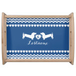 Dachshund Love and Hearts with Monogram Serving Tray