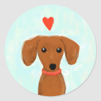 Dachshund Love Classic Round Sticker