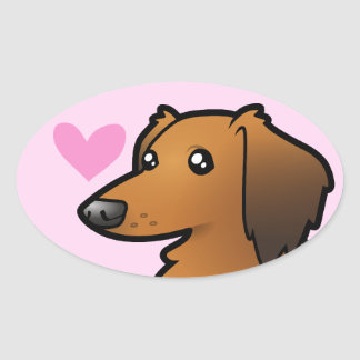 Dachshund Love (longhair) Oval Sticker