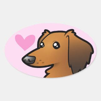 Dachshund Love (longhair) Oval Sticker