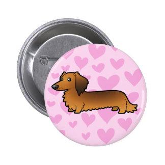 Dachshund Love (longhair) Pinback Button