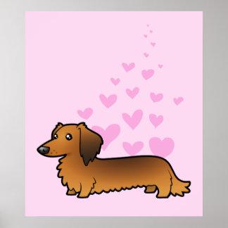 Dachshund Love (longhair) Poster