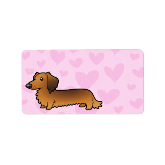 Dachshund Love (longhaired) Personalized Address Labels