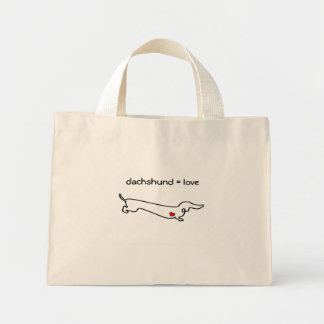 Dachshund = Love Mini Tote Bag
