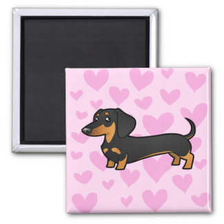 Dachshund Love (smooth coat) 2 Inch Square Magnet
