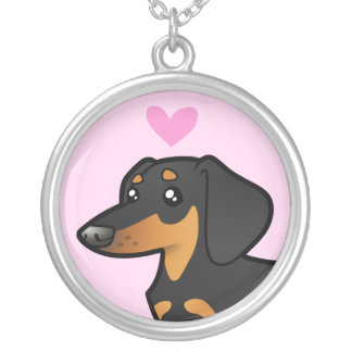 Dachshund Love (smooth coat) Silver Plated Necklace