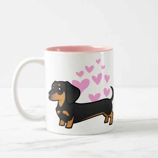 Dachshund Love (smooth coat) Two-Tone Coffee Mug