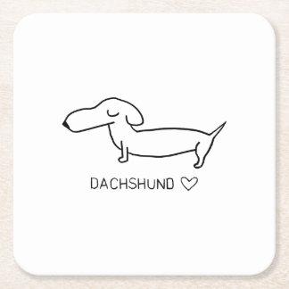 Dachshund Love Square Paper Coaster
