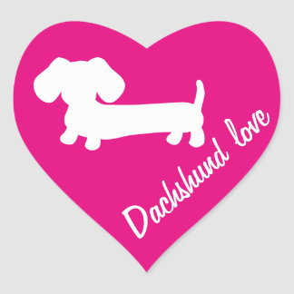 Dachshund Love Valentine's Day Envelope Seals Pink Heart Sticker