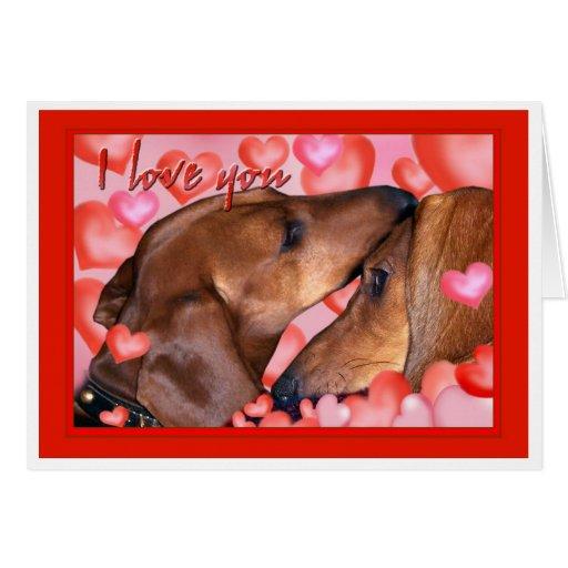 Dachshund Love - Valentines Day Greeting Card