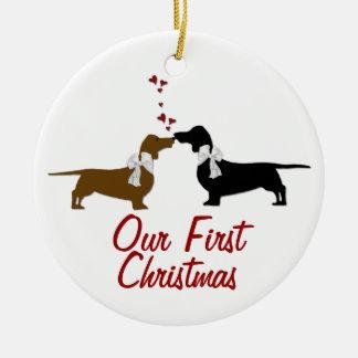 Dachshund Lovers First Christmas Custom Ceramic Ornament