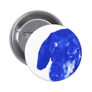 Dachshund Low Poly Art in Blue Pinback Button