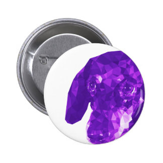 Dachshund Low Poly Art in Purple Button