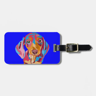 Dachshund Luggage Tag with Leather Strap