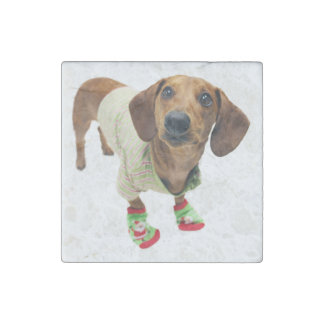Dachshund - merry christmas - cute dog stone magnet