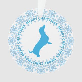 Dachshund Merry Christmas Snowflake Ornament