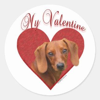 Dachshund mi tarjeta del día de San Valentín - Pegatinas Redondas