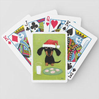 Dachshund Milk and Cookies - Funny Santa Dog Bicycle Playing Cards