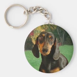 Dachshund ( Mini Brown Short Haired ) Basic Round Button Keychain